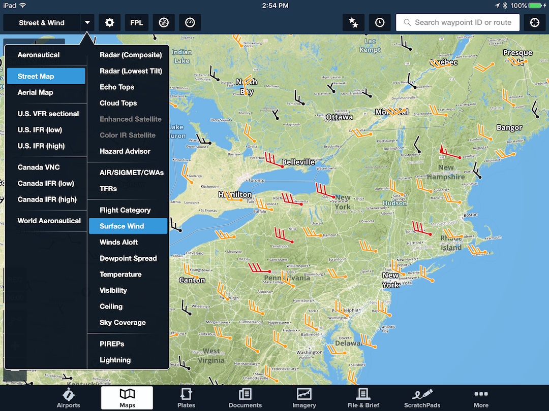 Surface Wind Analysis Now Available With Siriusxm Foreflight