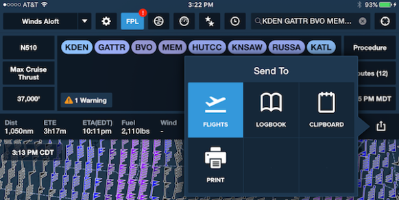 ForeFlight use the Send To feature