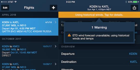 ForeFlight historical winds alert