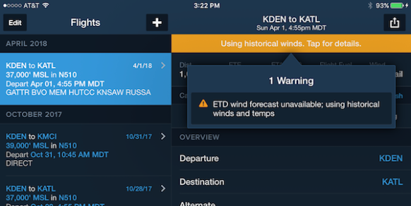 ForeFlight historical winds alert