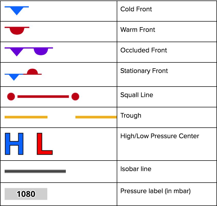 Surface analysis legend foreflight