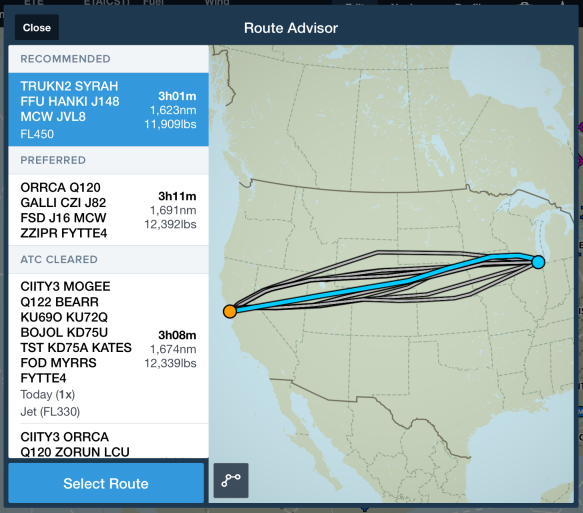 Recommended Route provides more relevant results based on your aircraft and altitude