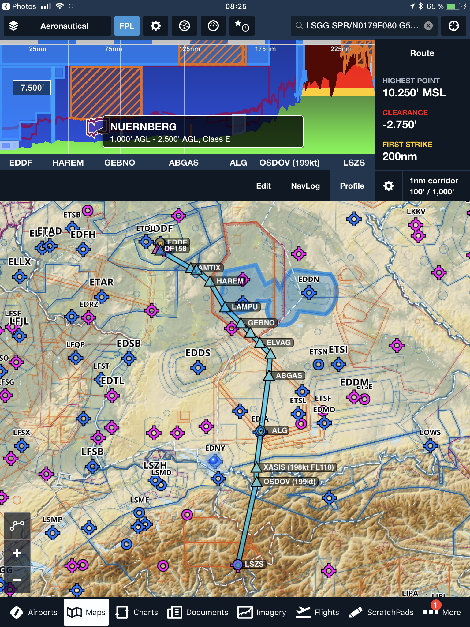 foreflight airspace profile with planned route on mappng
