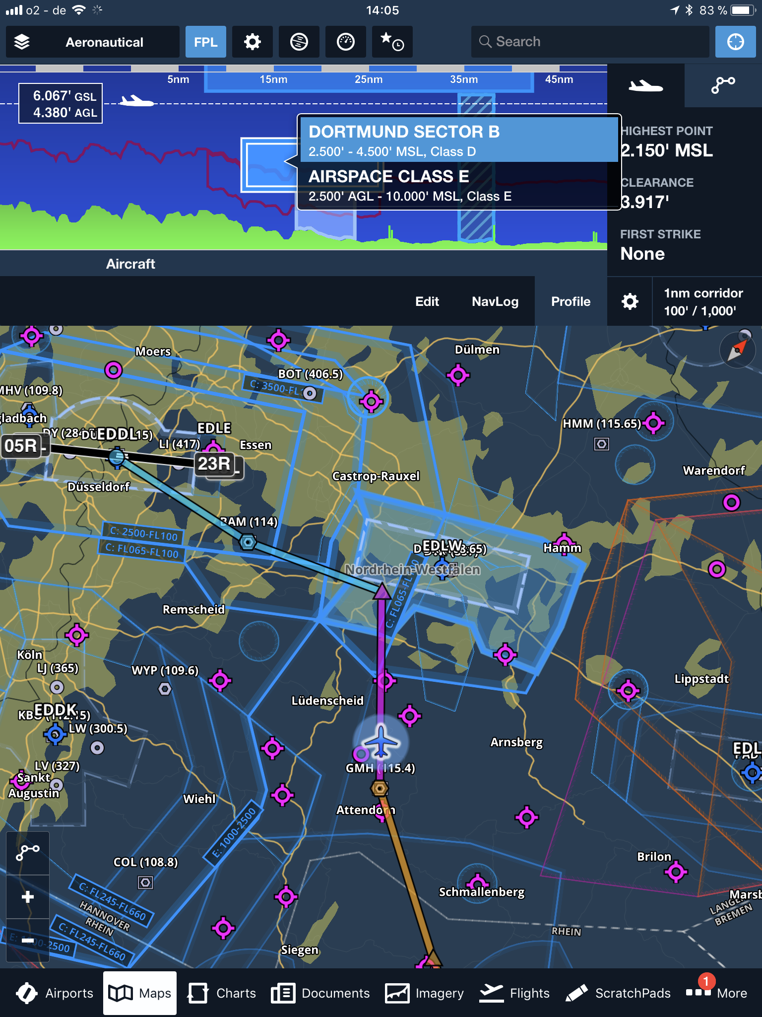 foreflight moving map with profile airspacepng