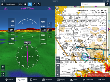 ForeFlight-splitscreen-synthetic-vision-Jeppesen-chart